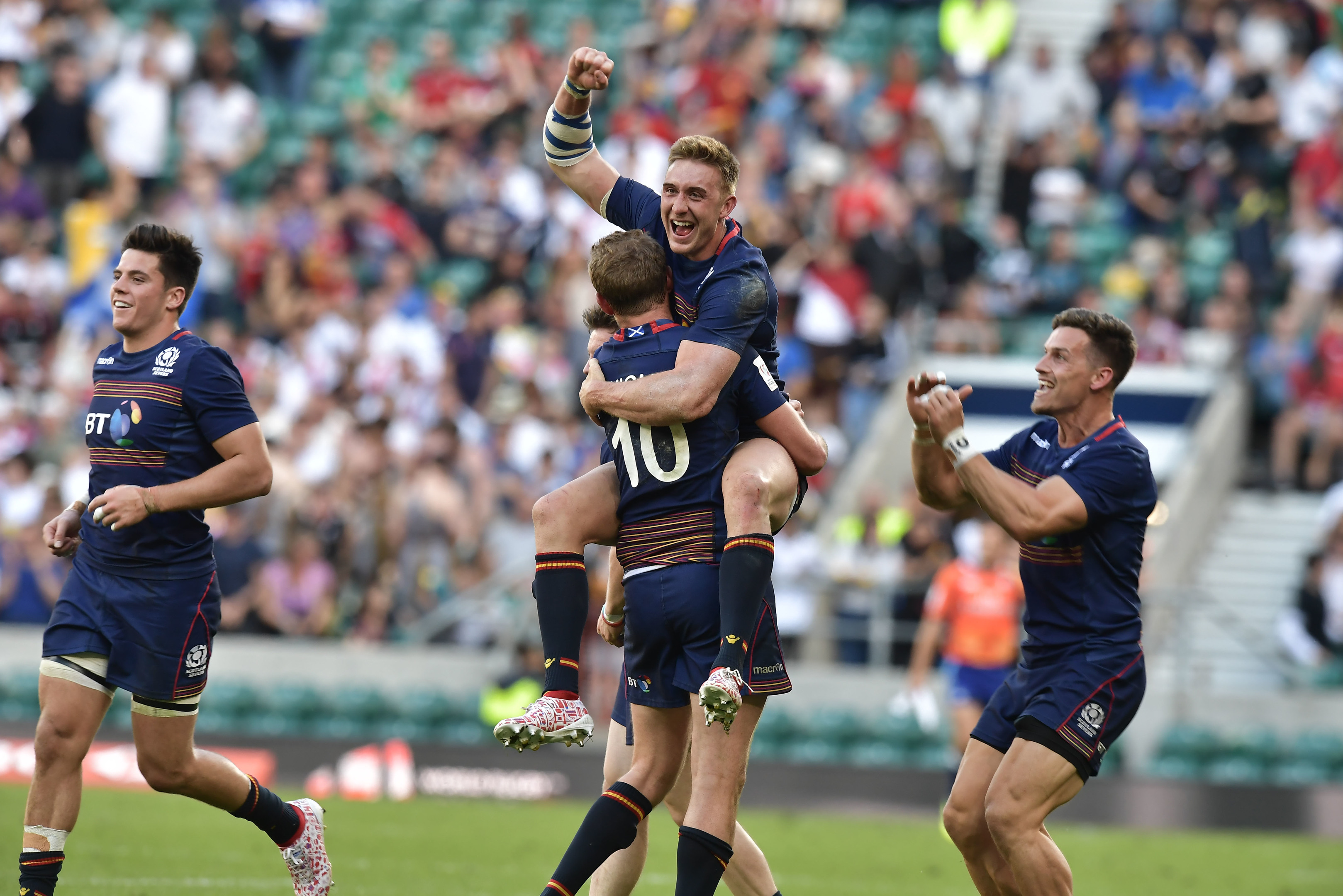 The retiring Scott Wight (10) and Dougie Fife celebrate as Scotland clinch victory in the HSBC London 7s