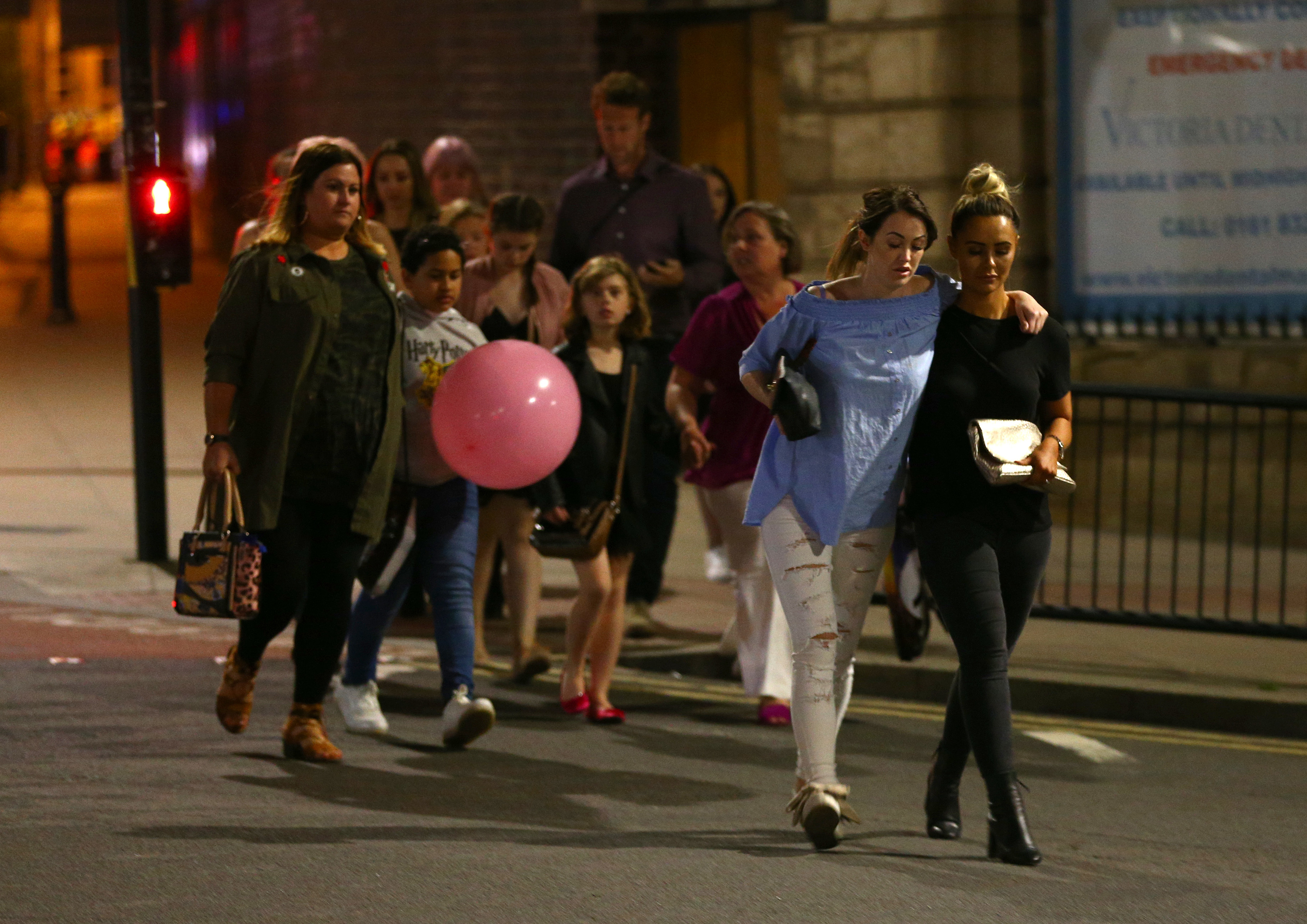Fans leaving the concert on Monday night.