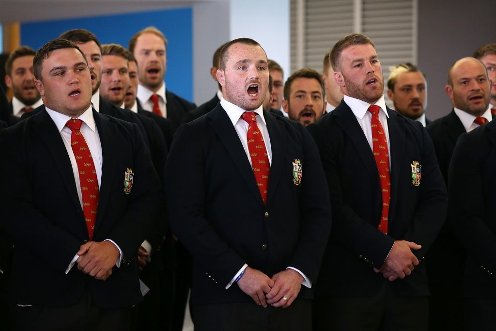 The British and Irish Lions sing Welsh hymn, Calan Lan, on arrival in Auckland.