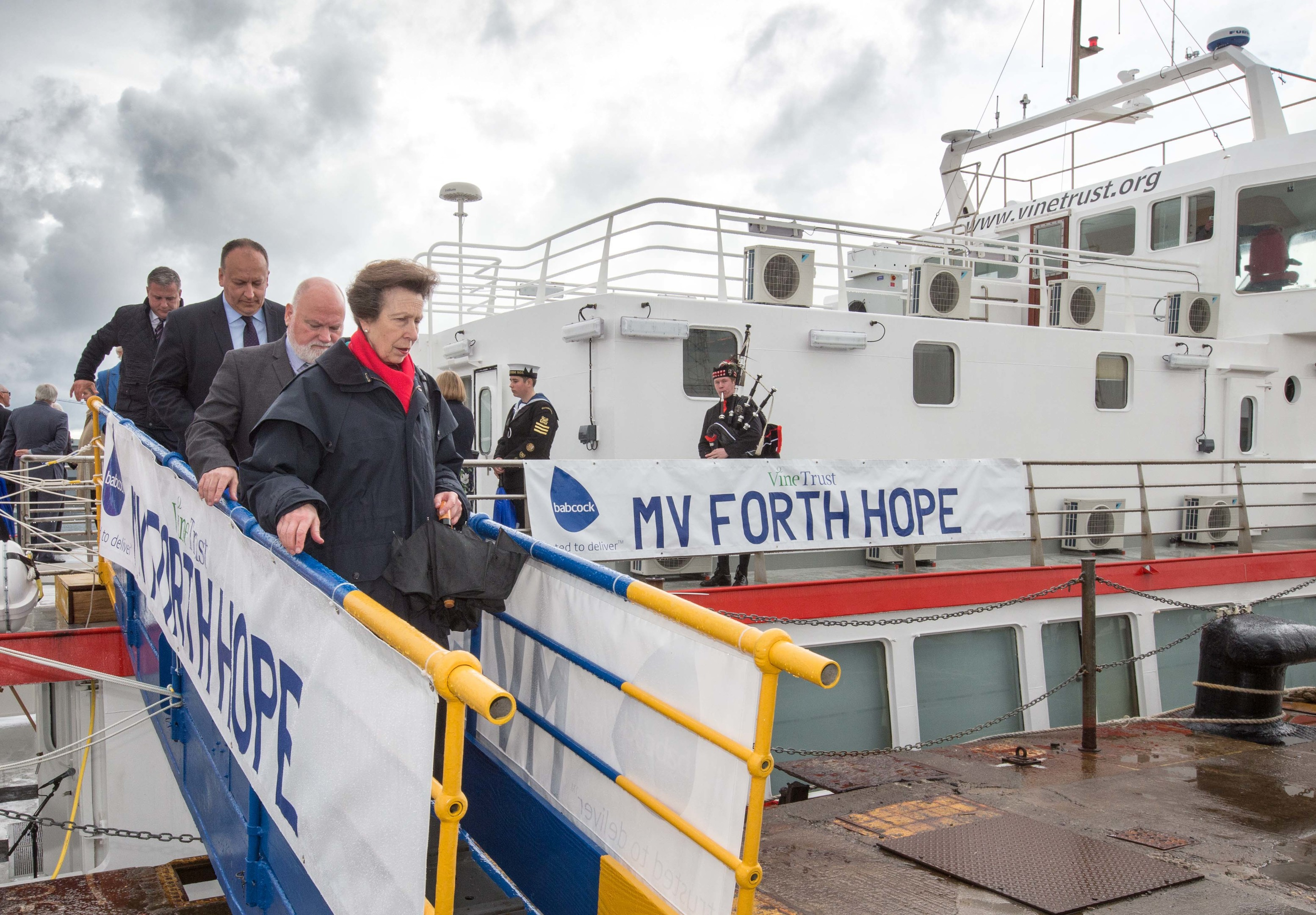 """HRH The Princess Royal officially names the Vine Trust's latest medical ship the  """"MV Forth Hope"""" at Babcock, Rosyth."""