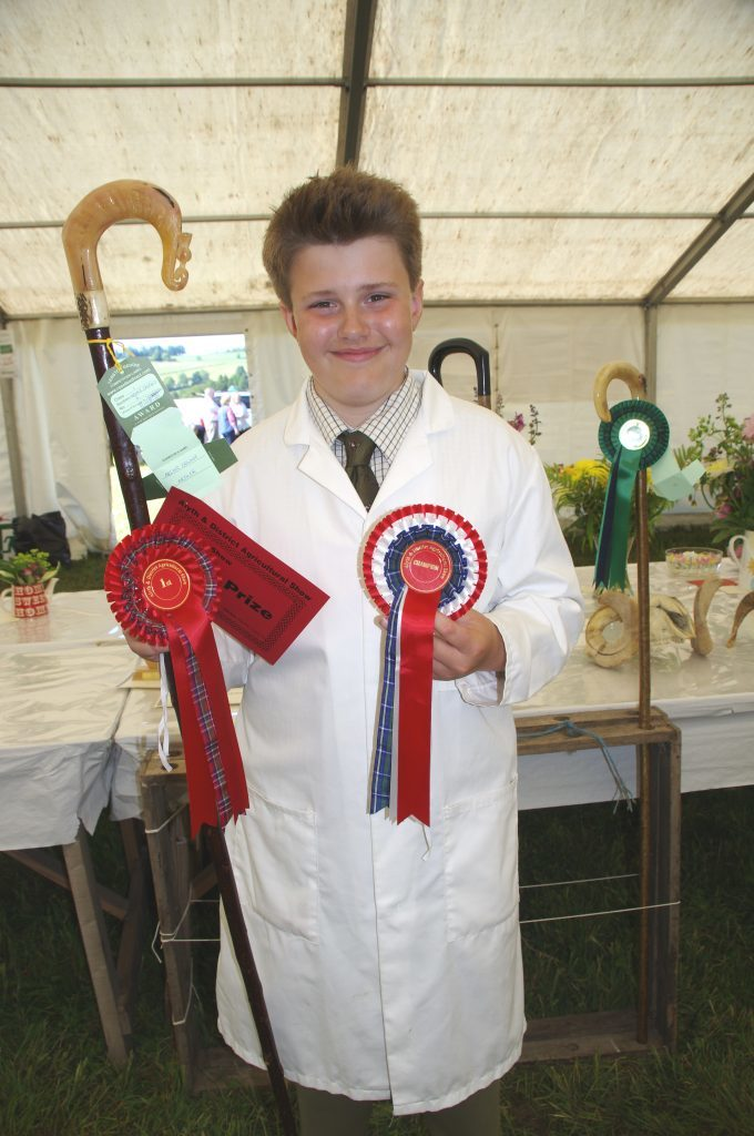 Archie with prizes won at Alyth Show.