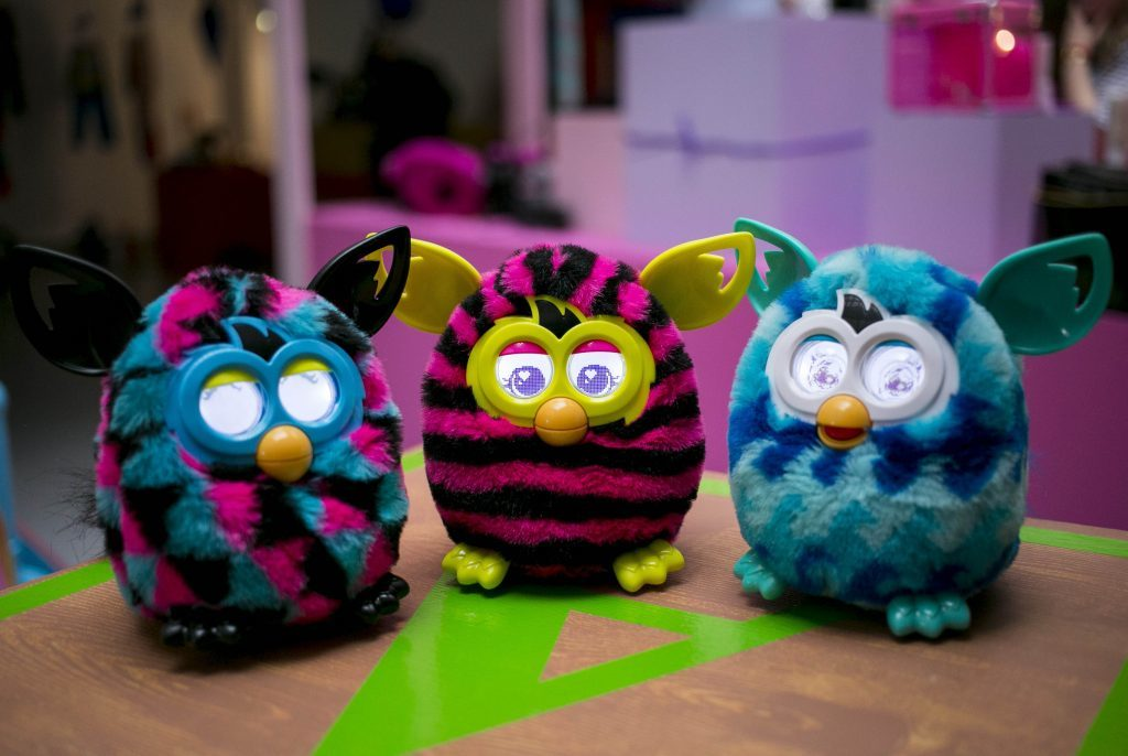 Furbies on display.