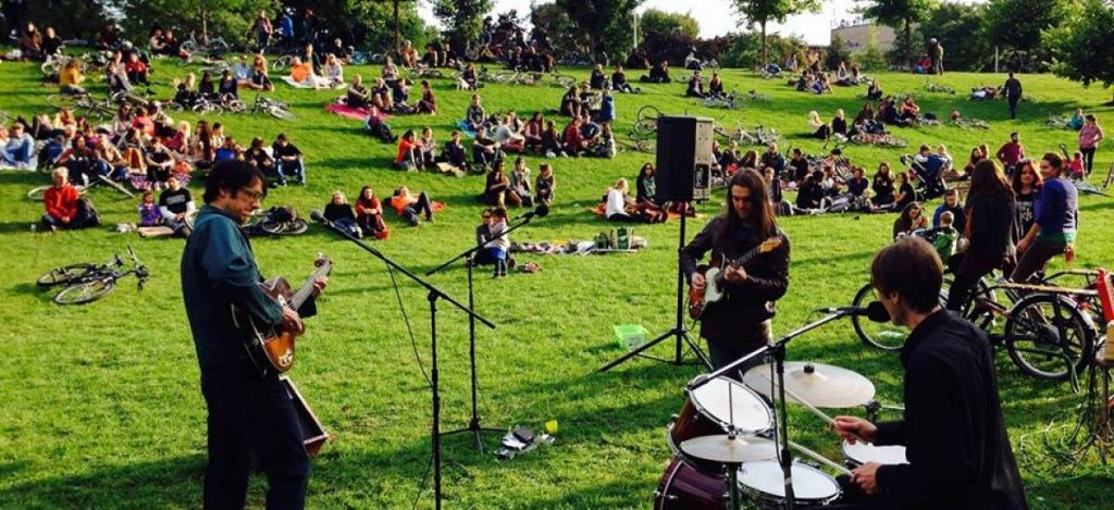 Cyclists provide the power as bands play at the Toronto Bicycle Music Festival