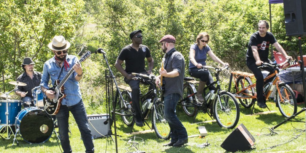 Cyclists provide the power as bands play at the Toronto Bicycle Music Festival2