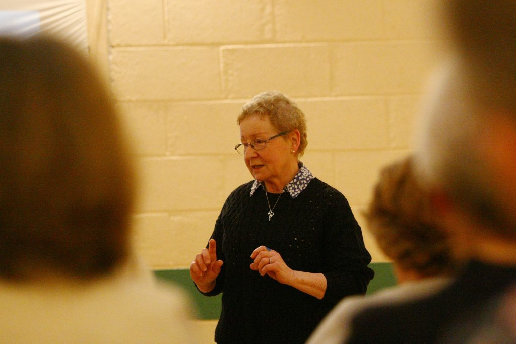 Guest speaker Margaret Watson giving her talk on Mary's Meals at the meeting of the Balmullo SWI, in the Burnside Hall, Balmullo.