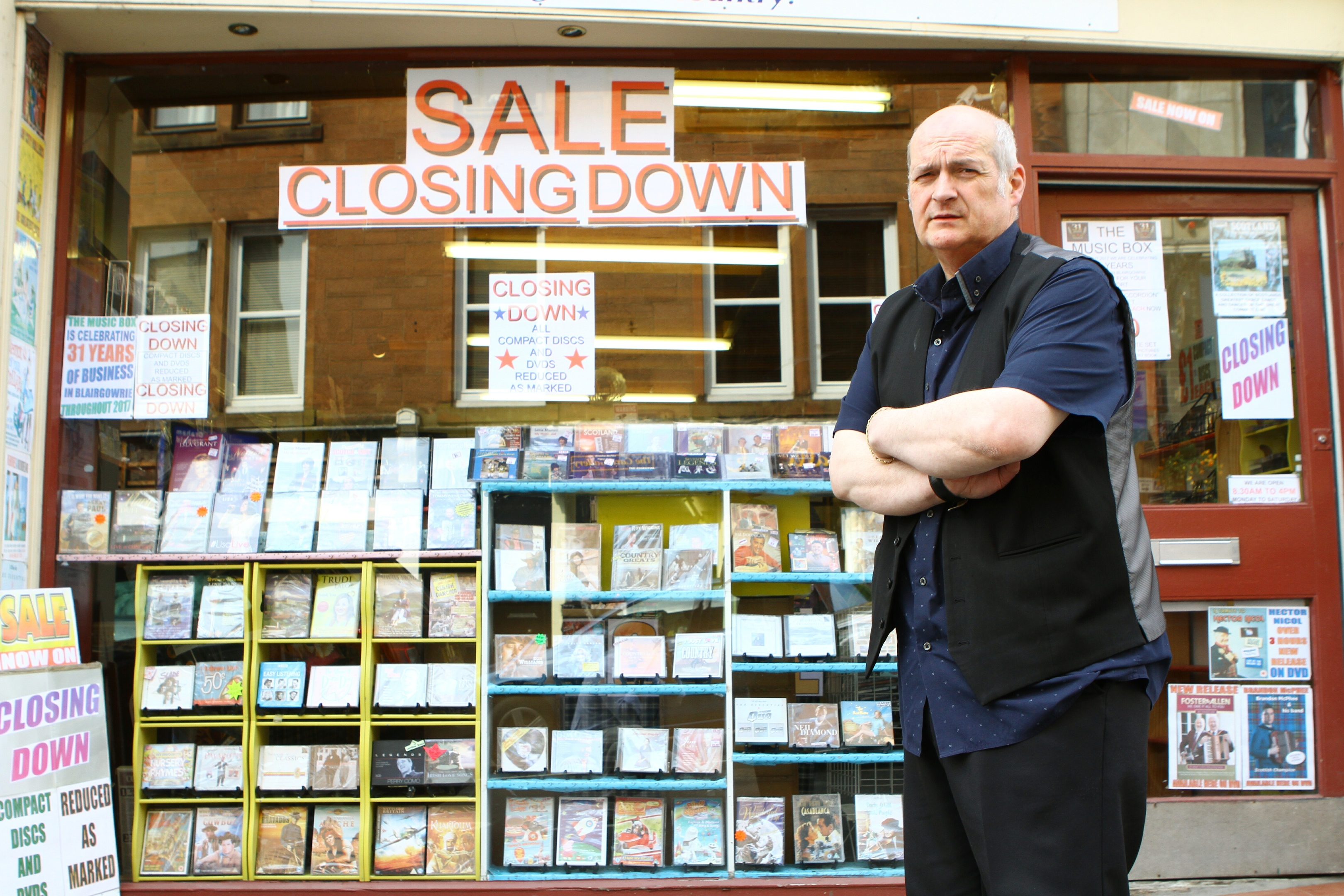 Tommy Newcomen outside his Music Box shop in Blairgowrie.