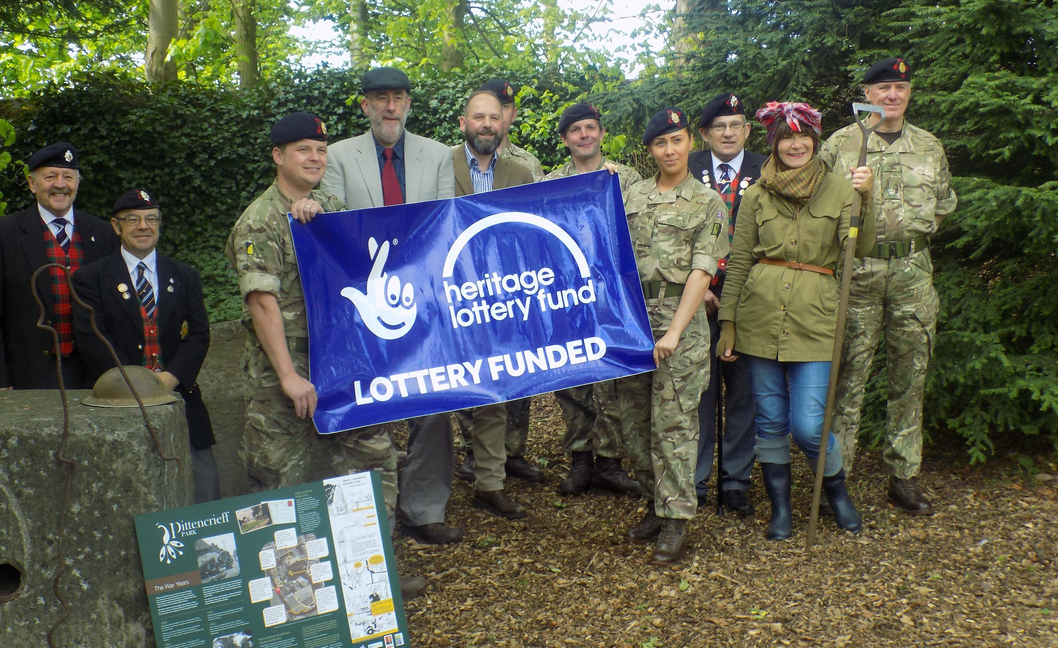 Teams from the 154 (Scottish Regiment) Royal Logistics Core, 239 (Scottish Regiment) Royal Logistics Core, the Royal Army Service Core and Royal Core of Transport Association (Fife Branch) help Forth Pilgrim to launch the festival in Pittencrieff Park.