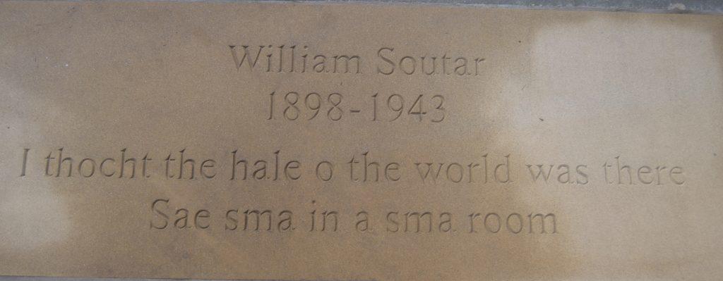The flagstone  monument in Edinburgh to Perth poet William Soutar.