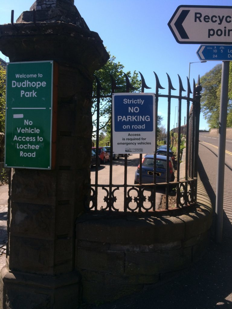The entrance to the road at Dudhope park