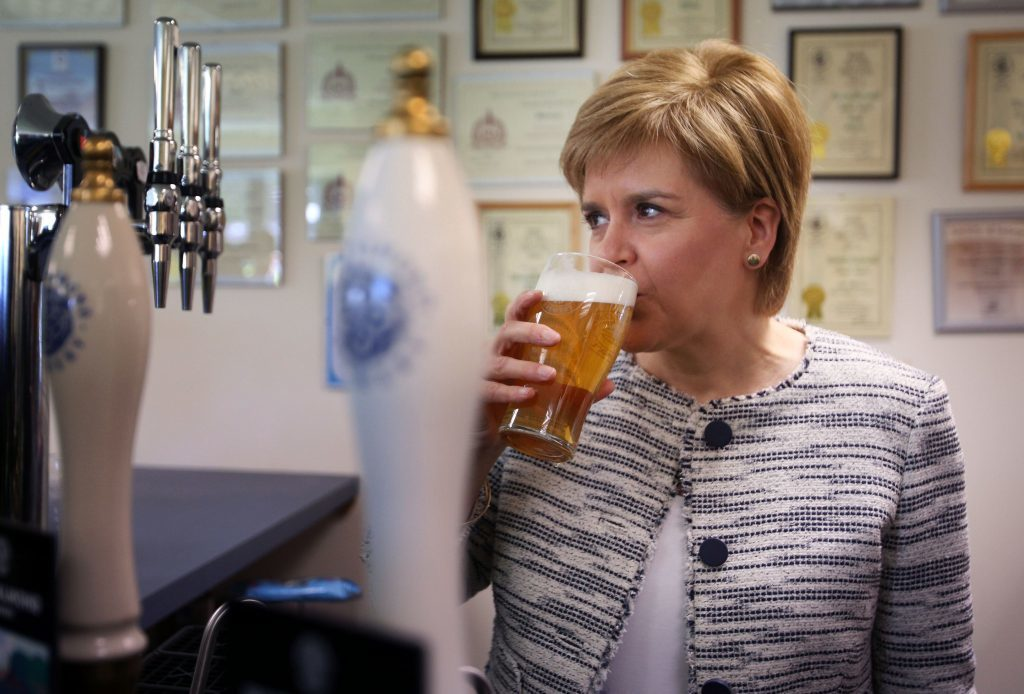 First Minister Nicola Sturgeon during a visit to the Inveralmond Brewery in Perth.