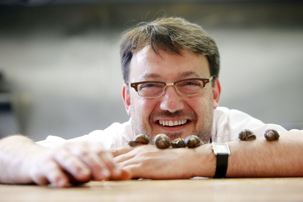 L'Escargot Bleu owner Fred Berkmuller with snails from the Barra Oyster Company