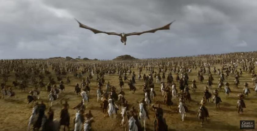 Drogon and the Dothraki in the Game of Thrones season seven trailer stills. Credit: HBO official season seven trailer.