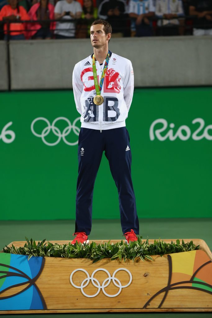 Gold medalist Andy Murray of Great Britain poses on the podium during the medal ceremony for the men's singles on Day 9 of the Rio 2016 Olympic Games.