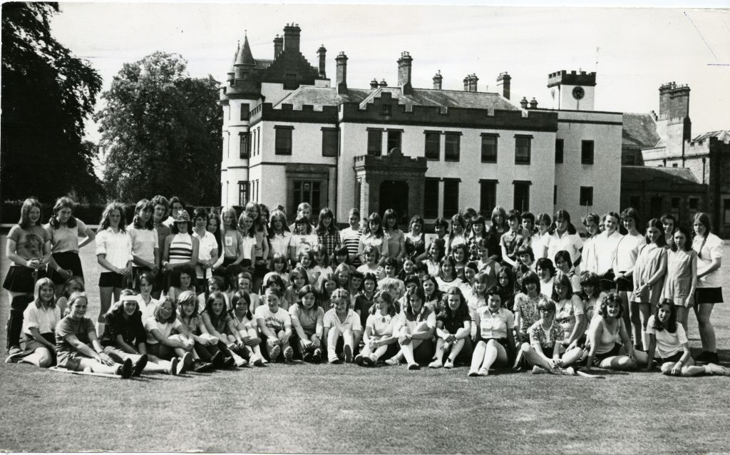 Belmont Castle Meigle where 100 girl are having hockey tuition.