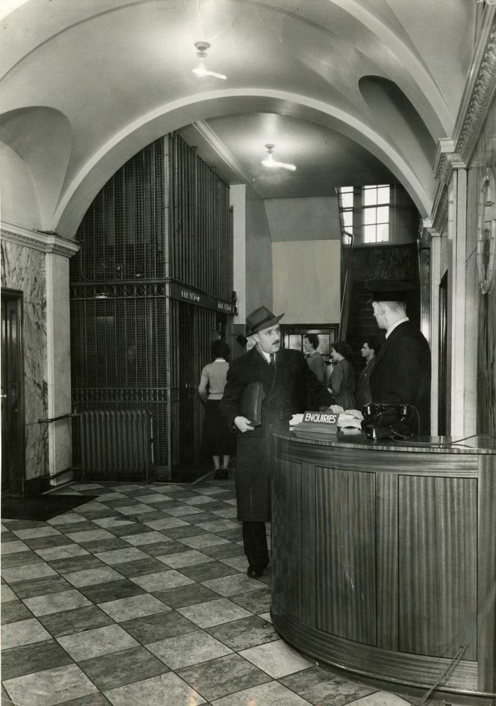The entrance and reception hall in 1954.