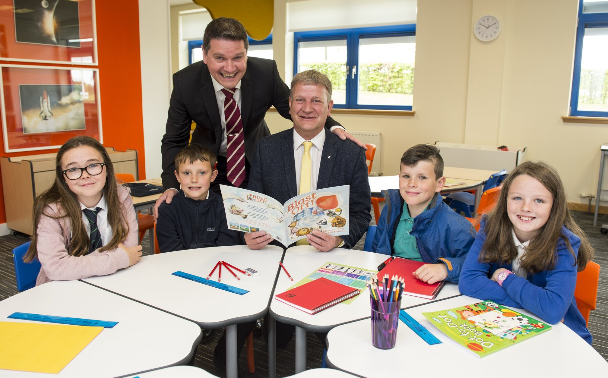 Children from Cowdenbeath Primary School joined David Torrance MSP and Havelock chief executive David Ritchie to try out the firmÕs new Imagine furniture range, which has been designed and manufactured by staff in Kirkcaldy.  Pic shows: l to r - Cowdenbeath Primary School pupils, Rebecca Kirk (11). Lucas Turner (8). David Ritchie, Chief Executive Officer at Havelock Europa. David Torrance MSP. Aaron Bradley (11). Karla Porteous (10).
