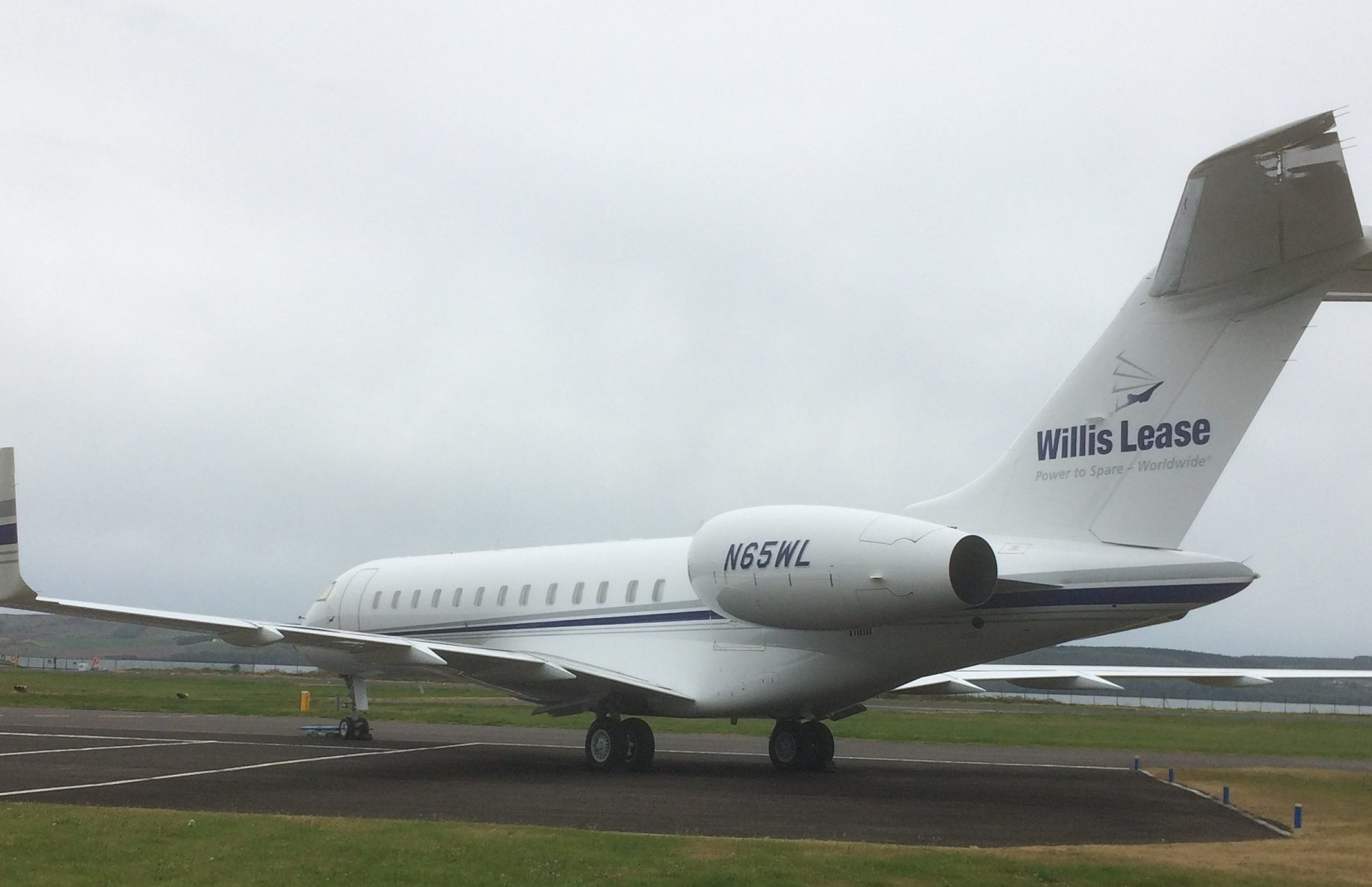 The Bombardier Global Express at Dundee Airport.