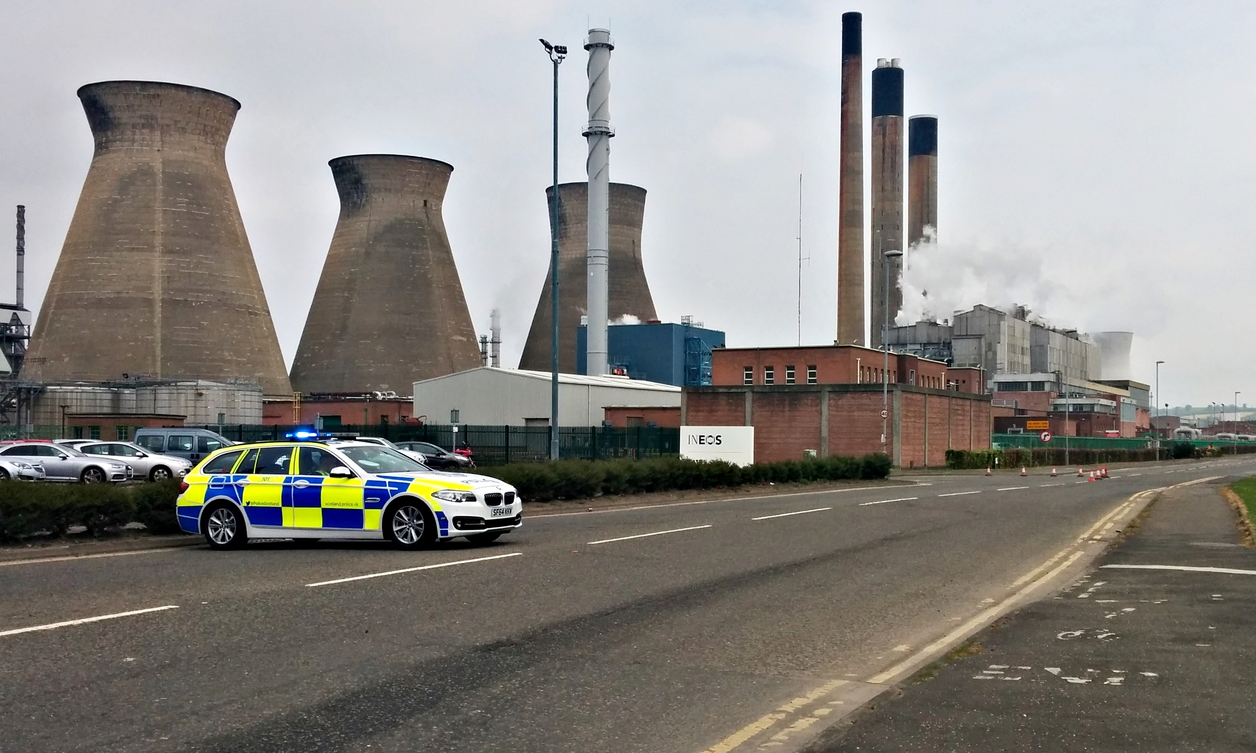 Police blocking access to the Ineos plant at Grangemouth.