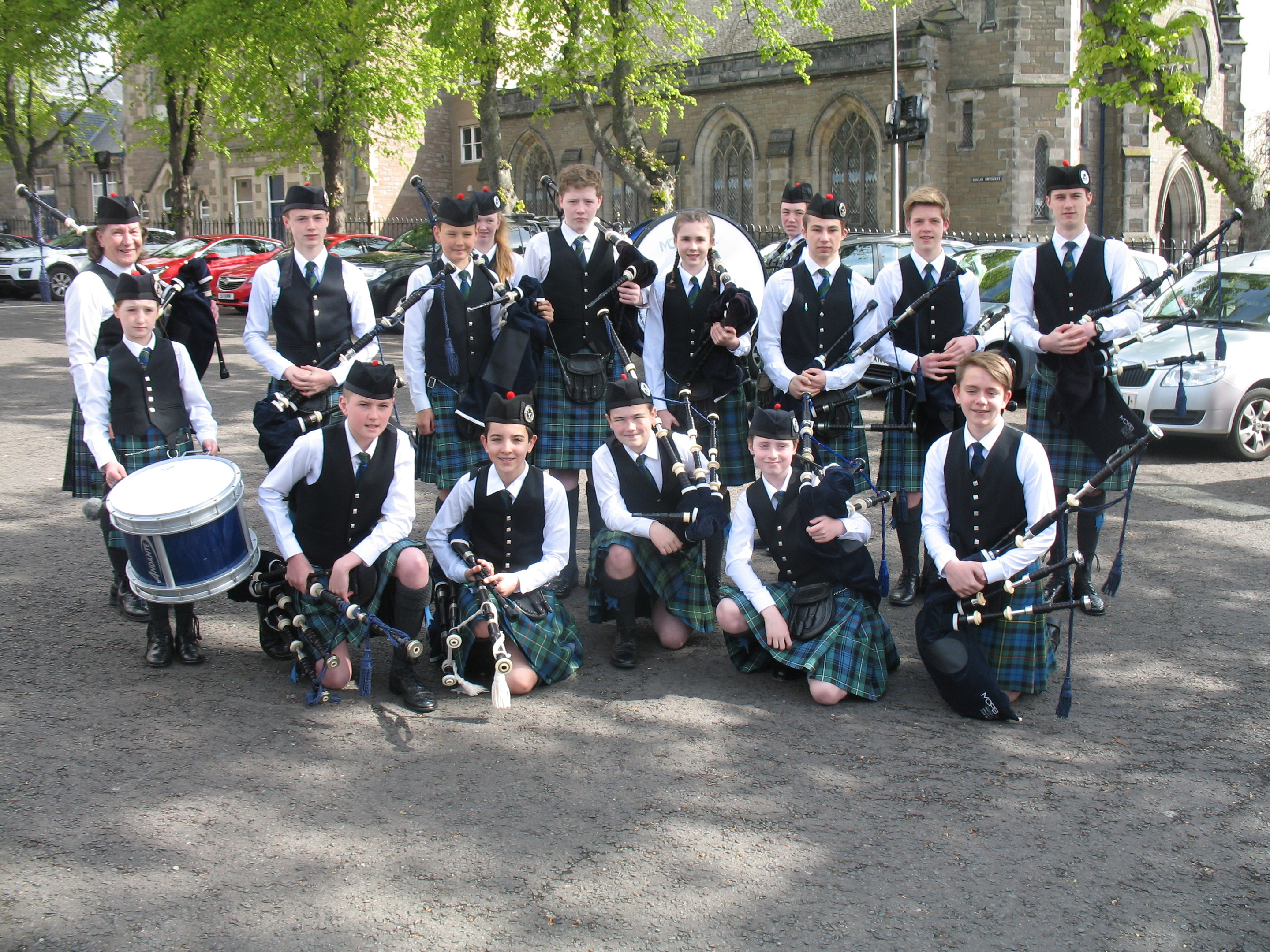 Members of the Dundee-based McKenzie Caledonian pipe band in Dundee on Sunday.