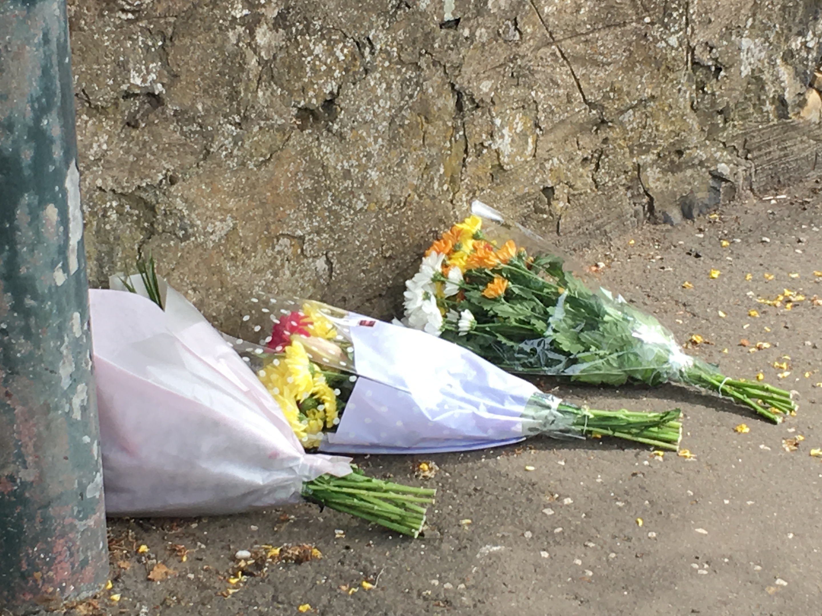 Flowers left at Coronation Avenue in Montrose