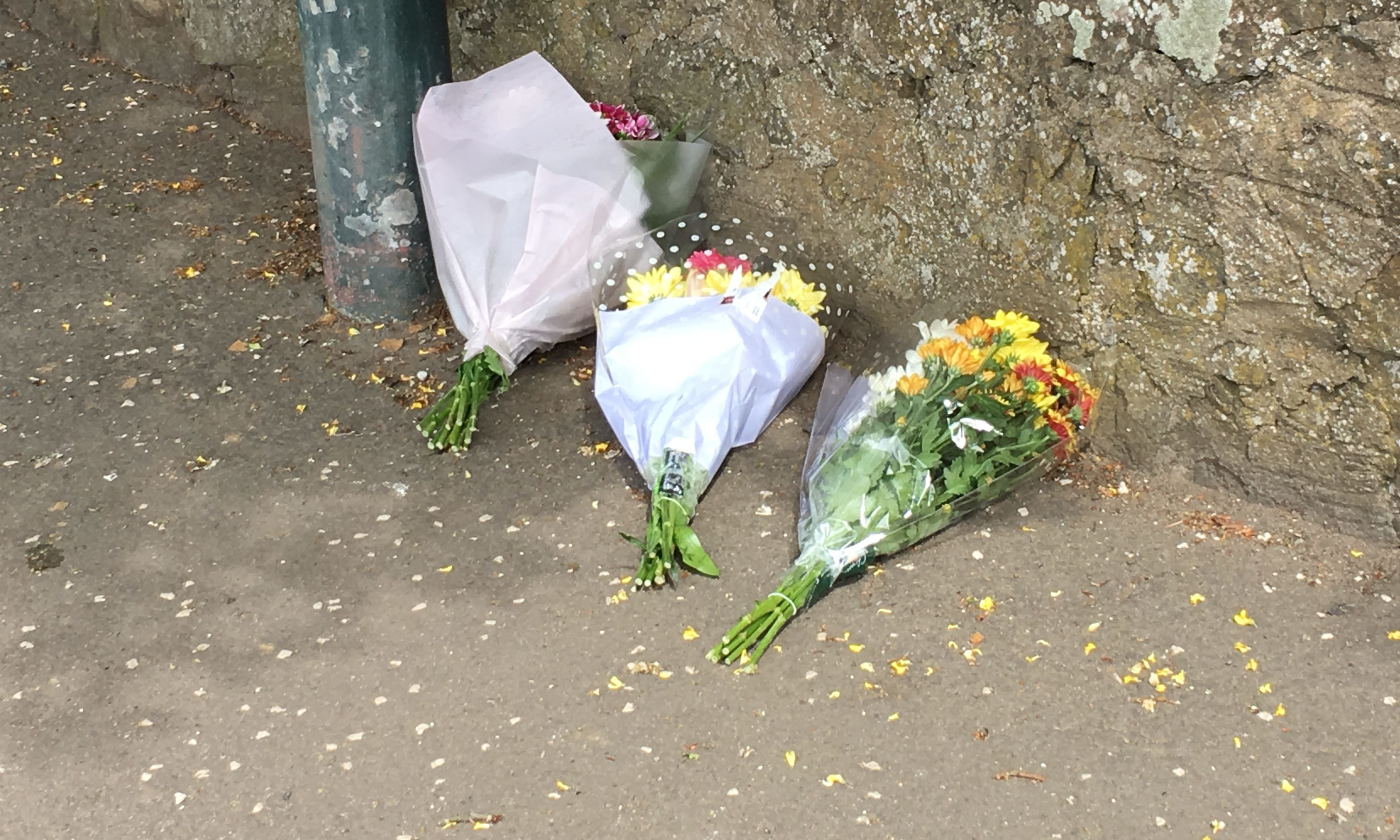 Flowers left at the scene of the tragedy.
