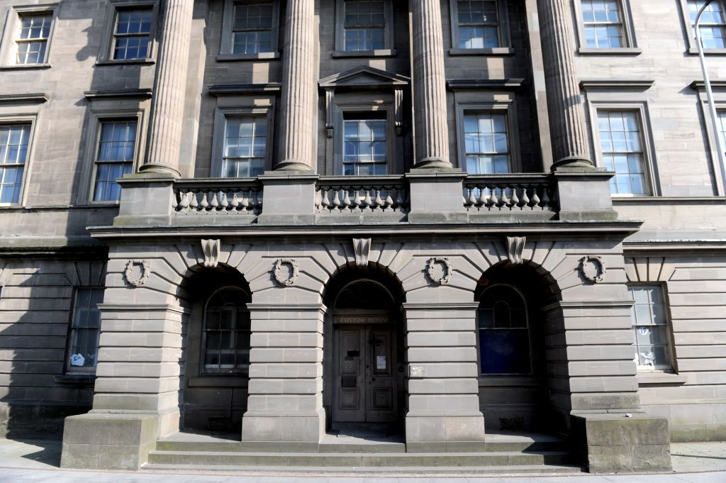 The grand entrance to Custom House.