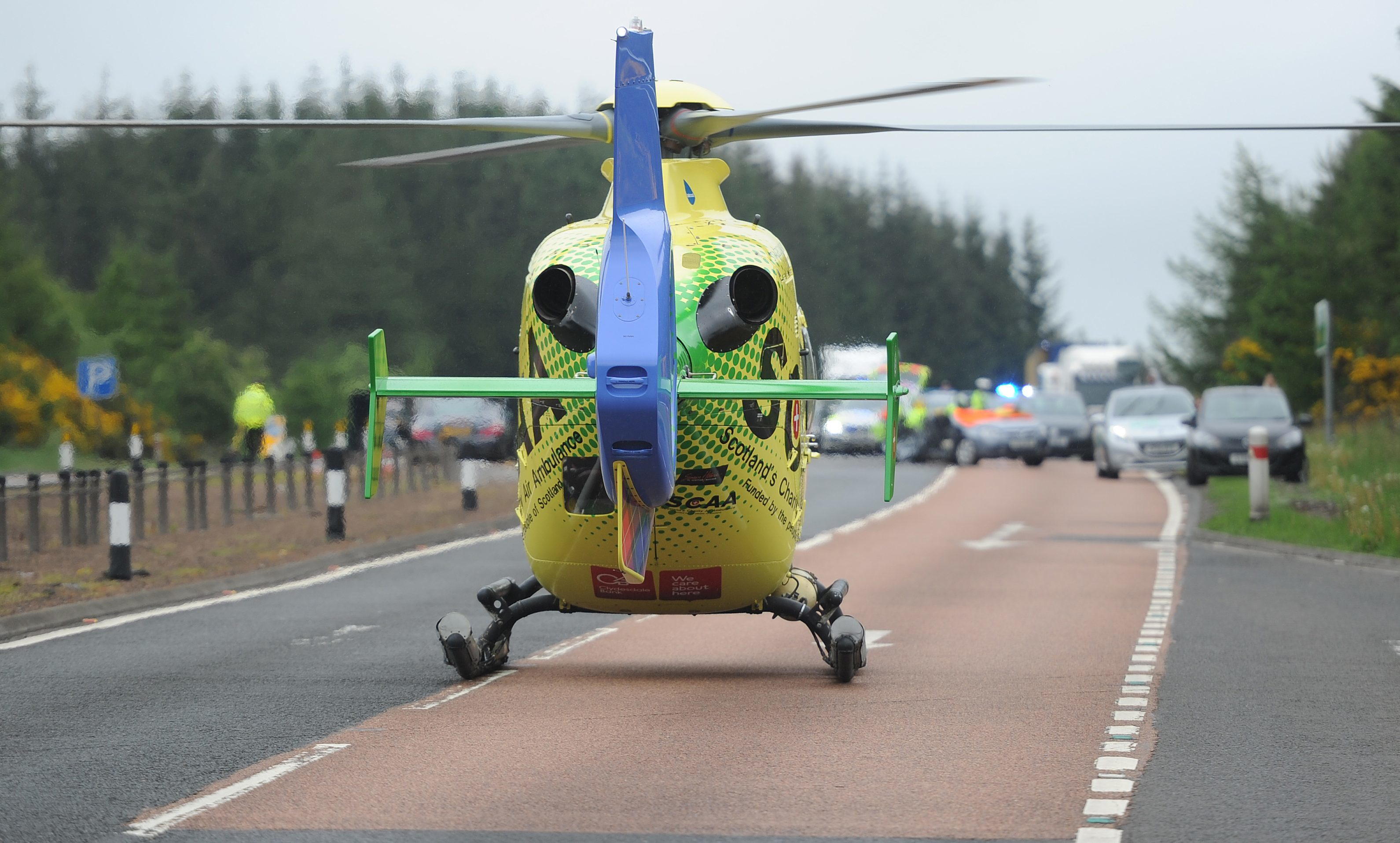 The charity air ambulance at the scene.