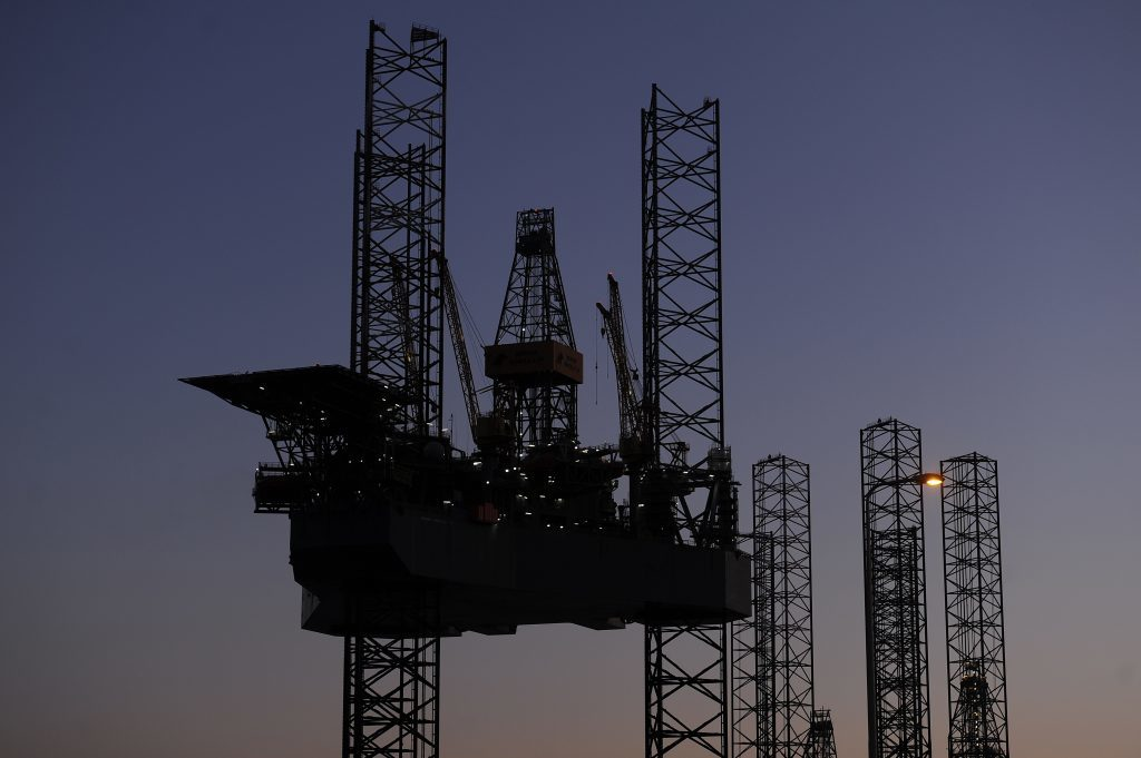 One of the oil rigs being held in Dundee awaiting contract drilling work has been elevated.