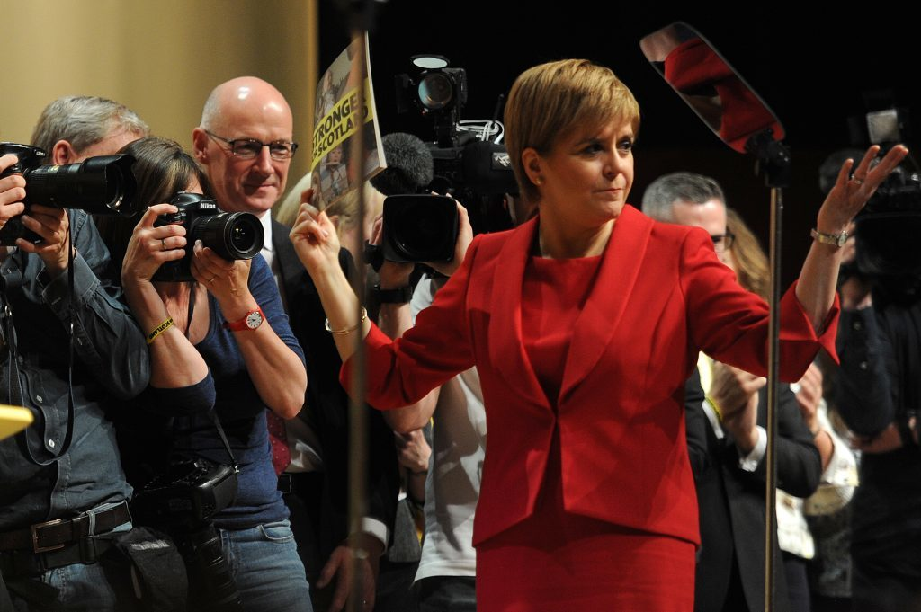 Nicola Sturgeon, who is not accused of flouting ministerial rules, at the SNP manifesto launch in Perth earlier this year.