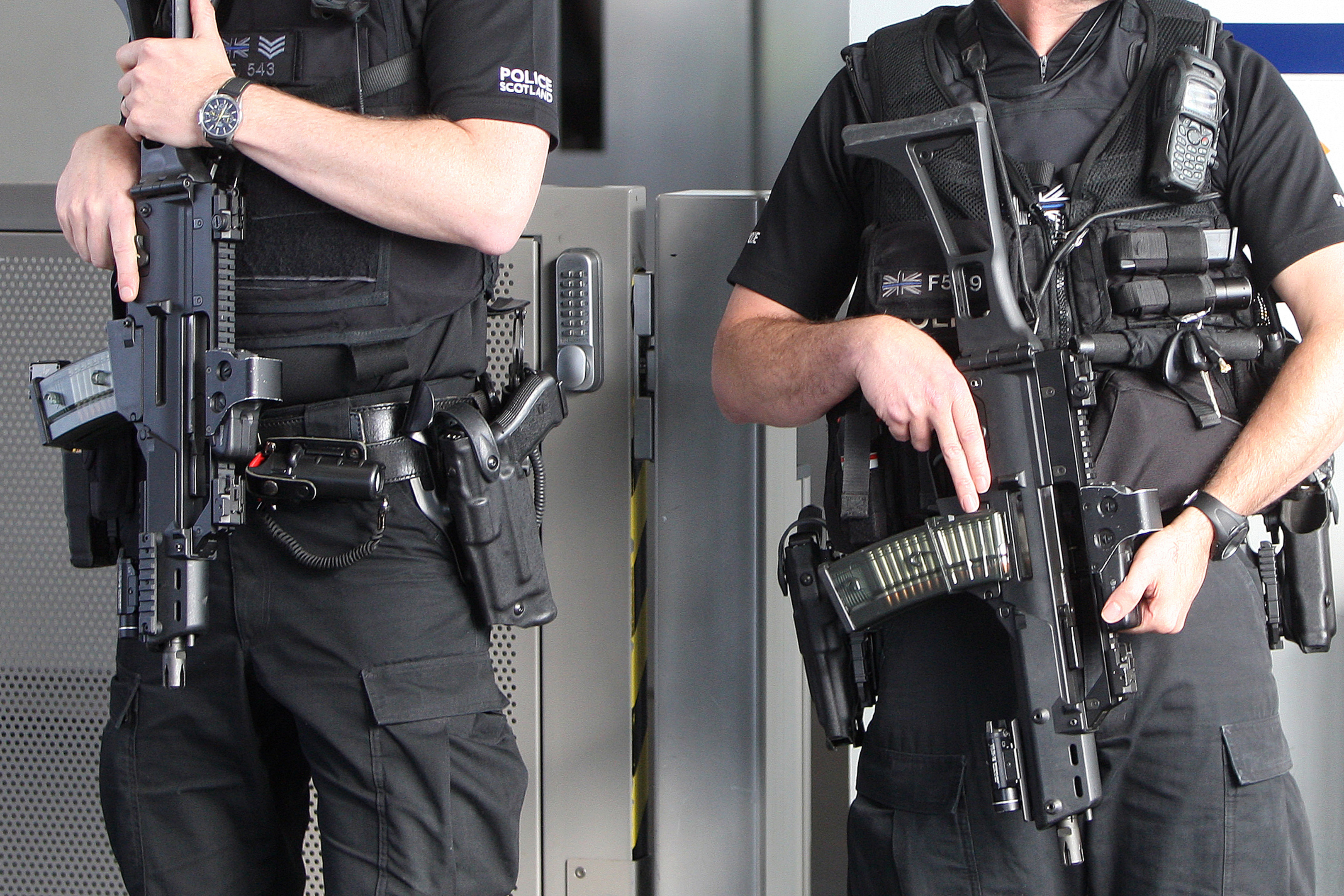 Armed officers in Dundee last month.
