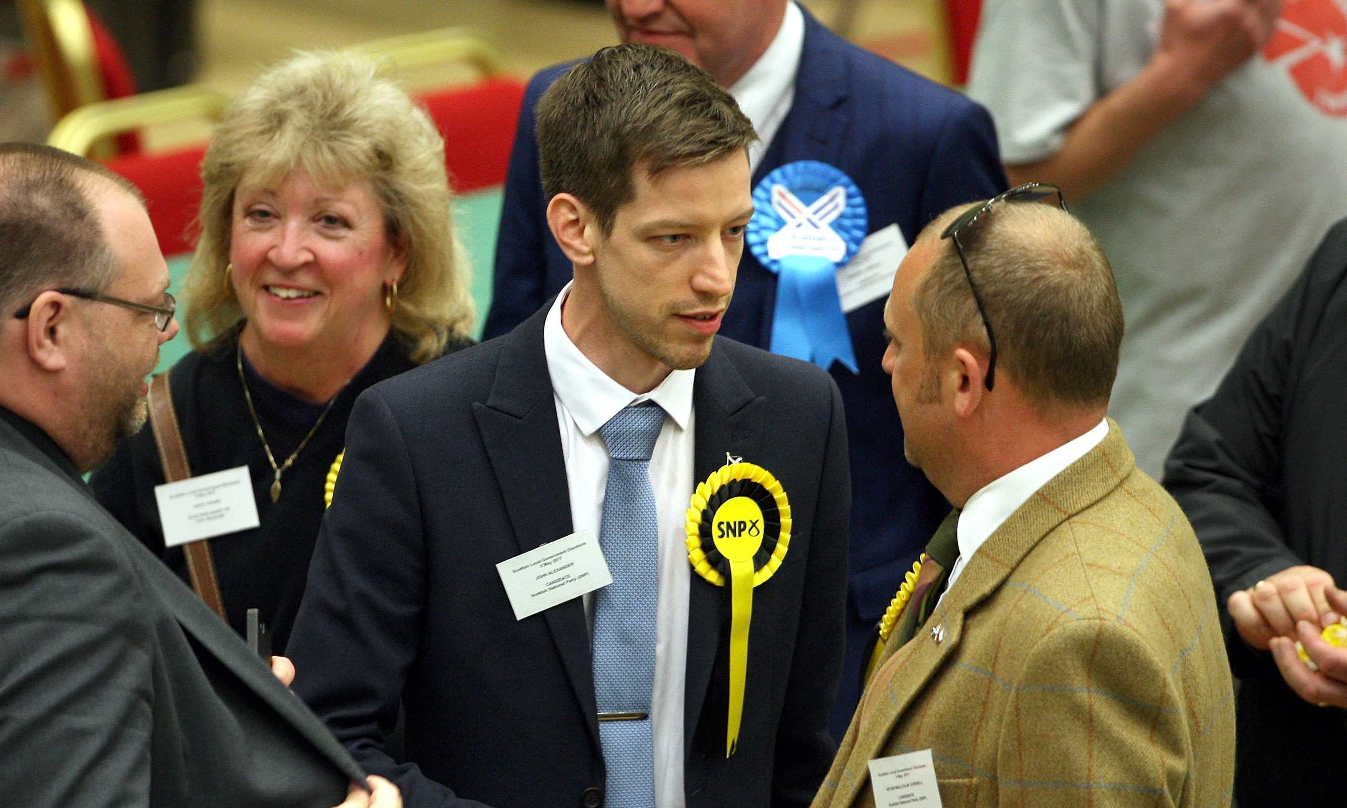 SNP group leader John Alexander at Friday's count in DISC.