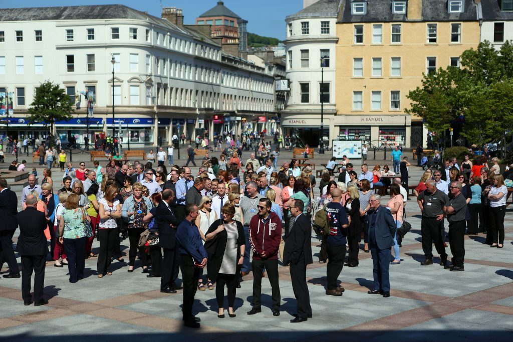 A minute's silence was held in City Square, Dundee to remember those killed and injured in the Manchester Arena attack.