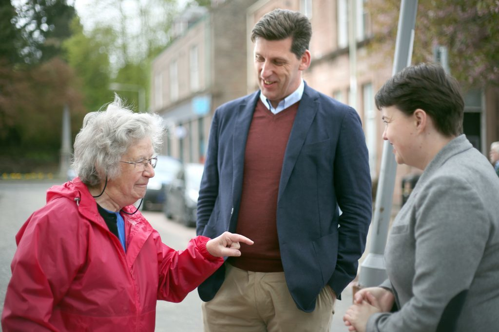 Ruth Davidson with Perth and North Perthshire Conservative candidate Ian Duncan and Dorothy Lothian, Mr Duncan's old chemistry teacher, in Alyth.