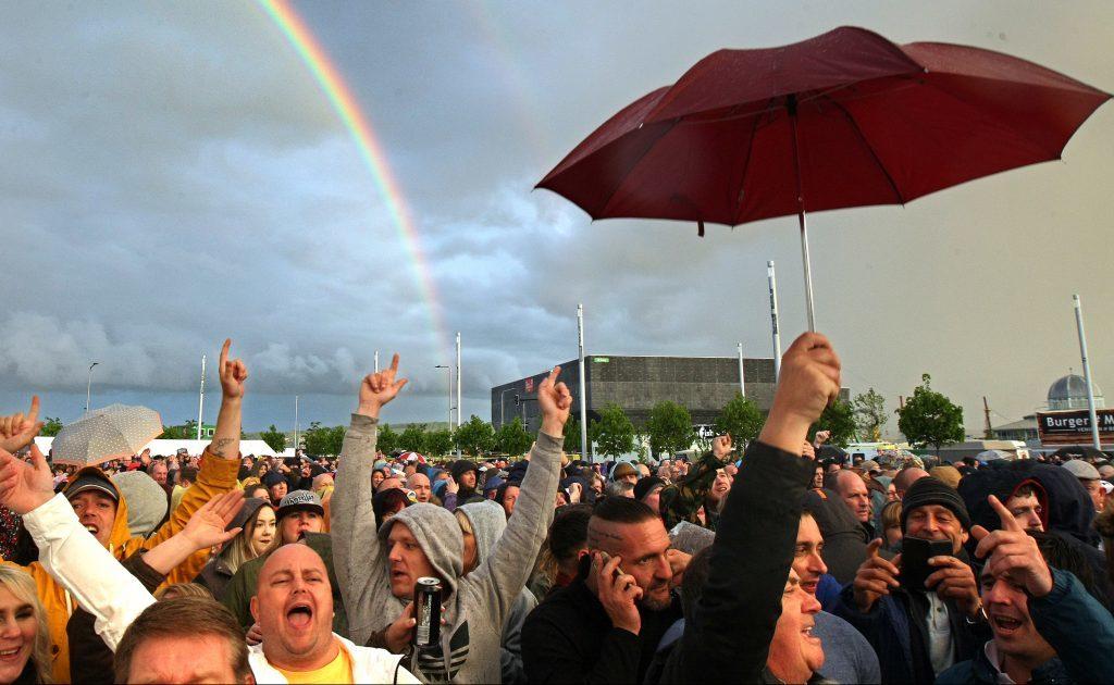 Rainbow over the UB40 crowd at Slessor Gardens.