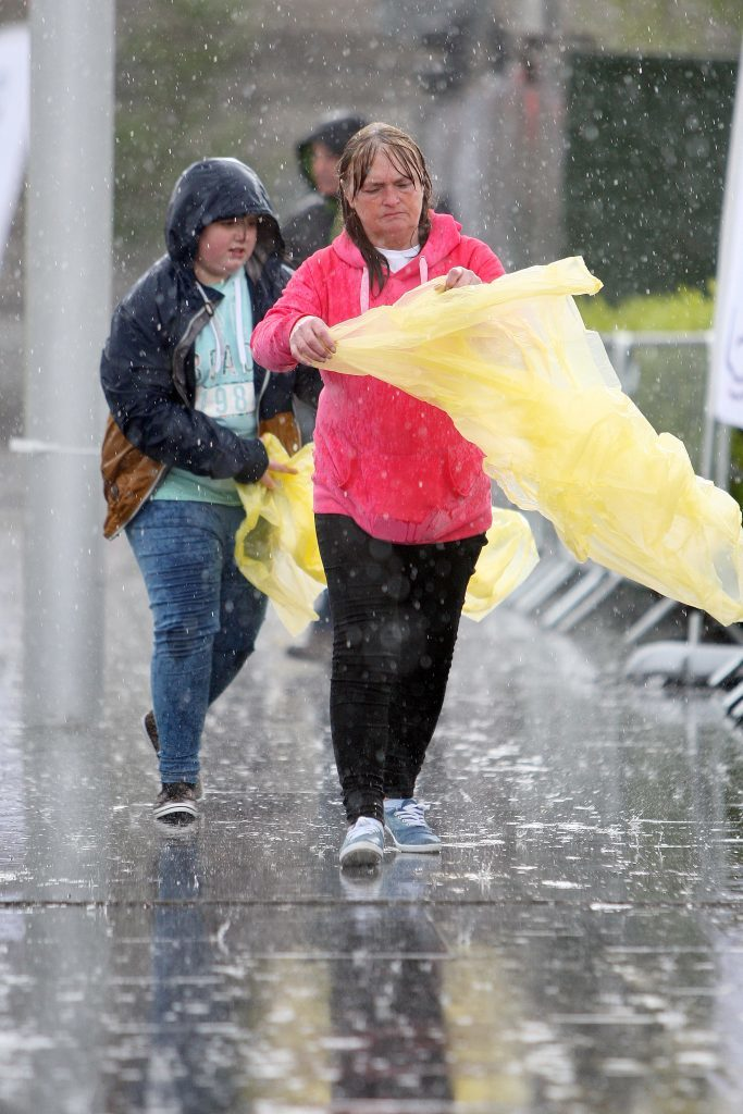 Pouring rain ahead of the UB40 gig at Slessor Gardens.