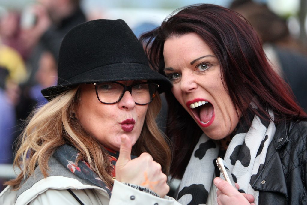 Paula Steel and Louise Stewart enjoying the first ever show at Slessor Gardens.
