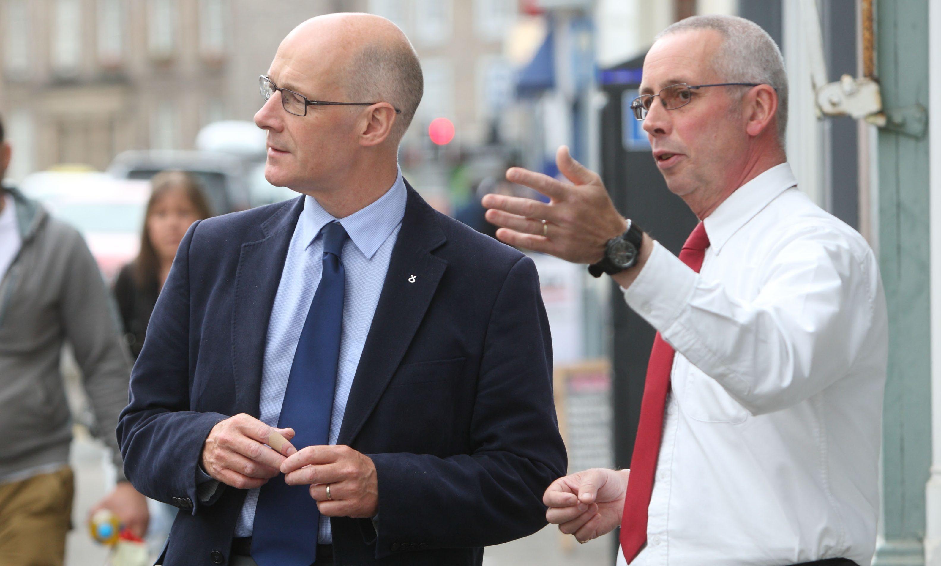 Deputy First Minister John swinney MSP, left, with Keith Fergie in Perth.