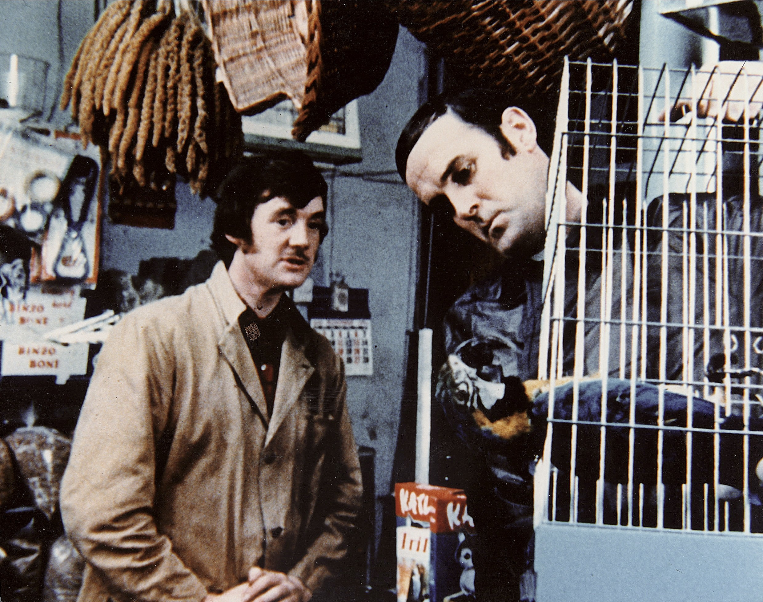 Michael Palin in the famous 1971 'parrot' sketch of Monty Python's Flying Circus with John Cleese