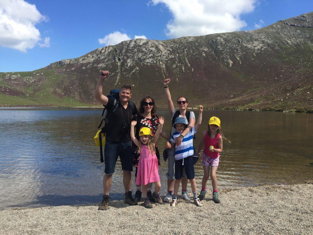 The McKelvie family at Corrie Fionn Lochan on Arran.