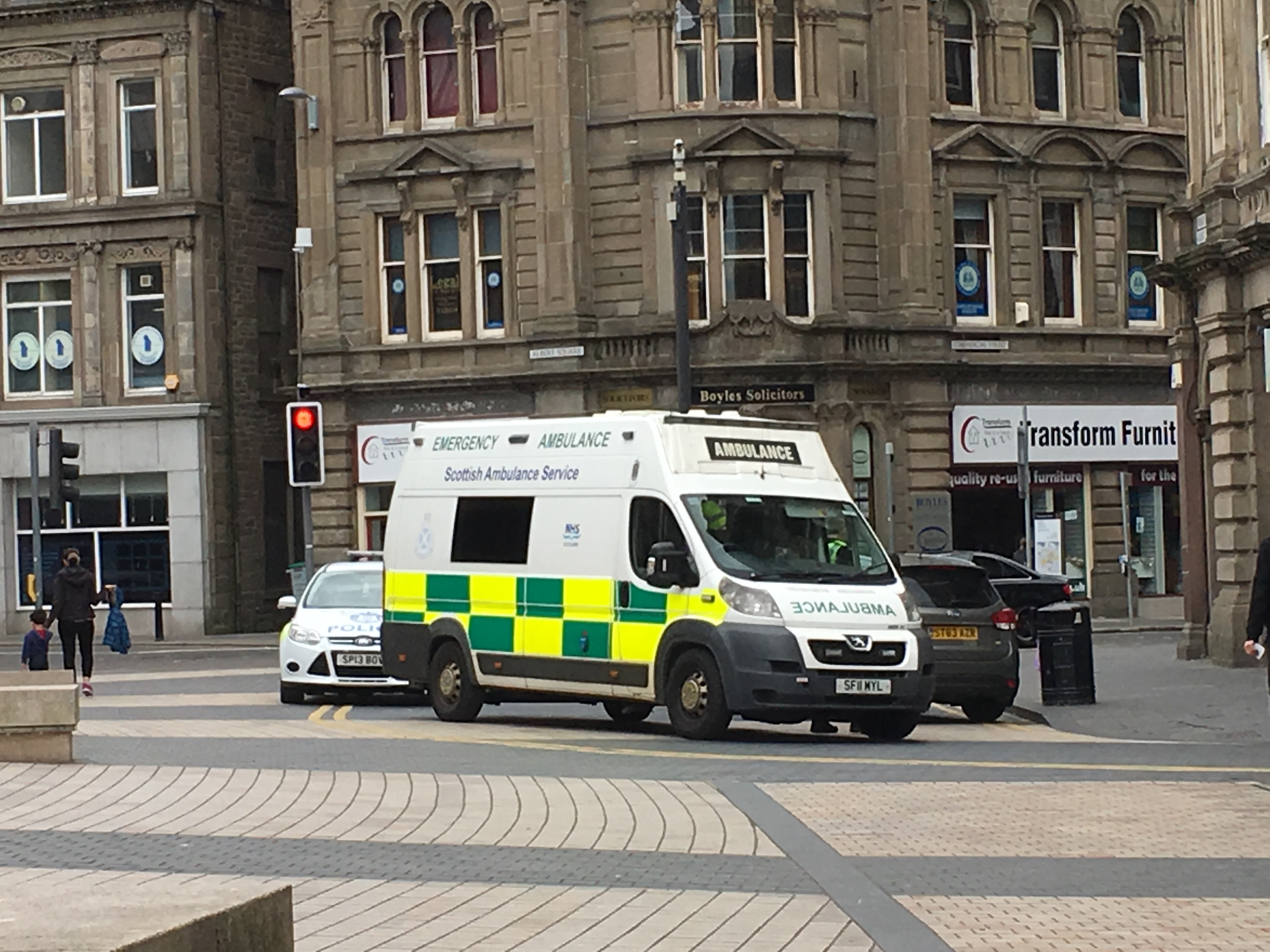 The ambulance service and police were in Albert Square.