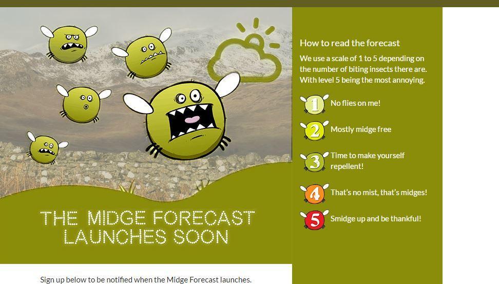 The midge forecast will launch soon.