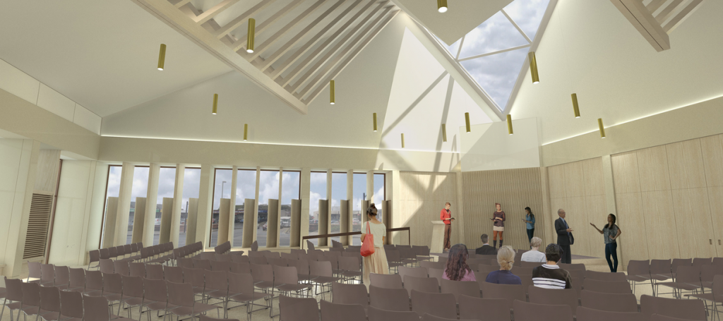 An impression of the main sanctuary area, with space for 250 users.