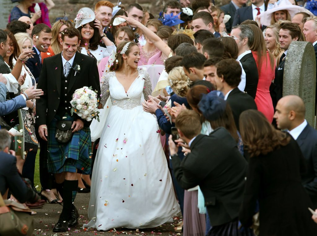 Andy Murray and his bride Kim Sears after their wedding at Dunblane Cathedral.