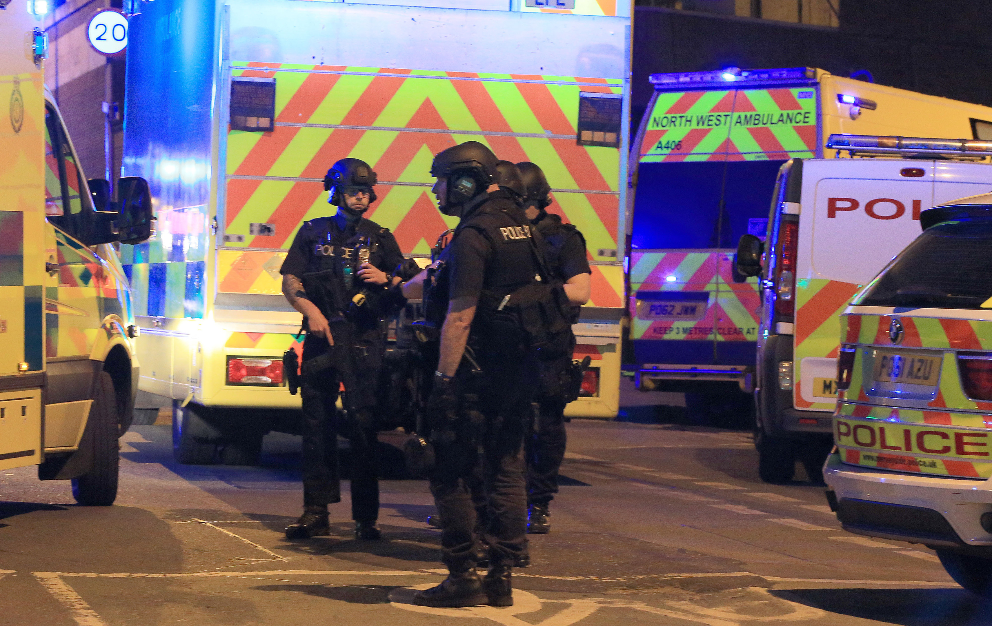 Armed police at the scene on Tuesday night