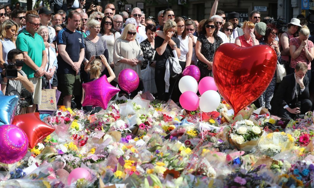 Minute's silence at St Ann's Square, Manchester.