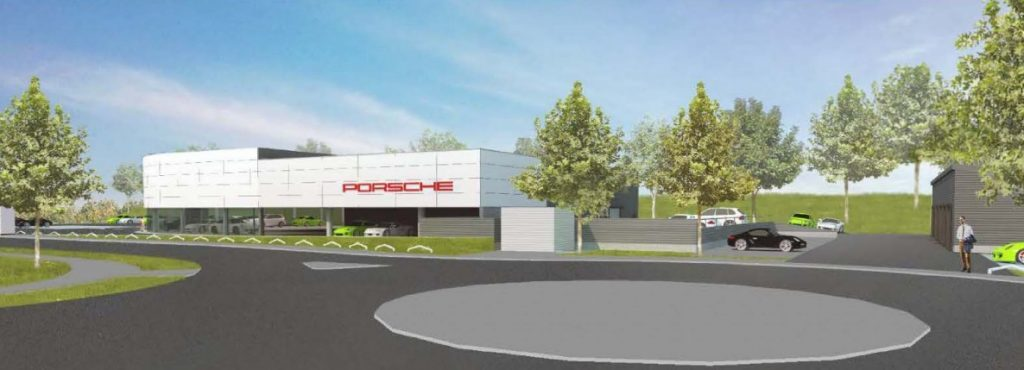 An impression of the proposed Porsche Centre.