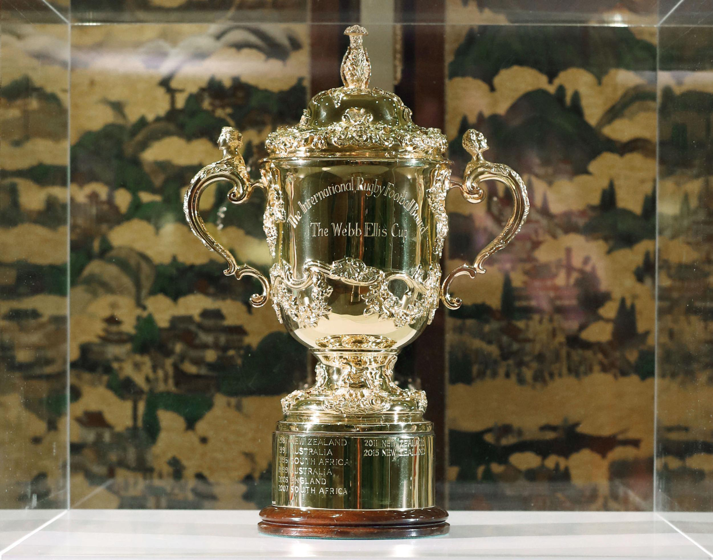 The Webb Ellis Cup is displayed in Kyoto, Japan at the draw for the pool stage of the 2019 Rugby World Cup tournament.