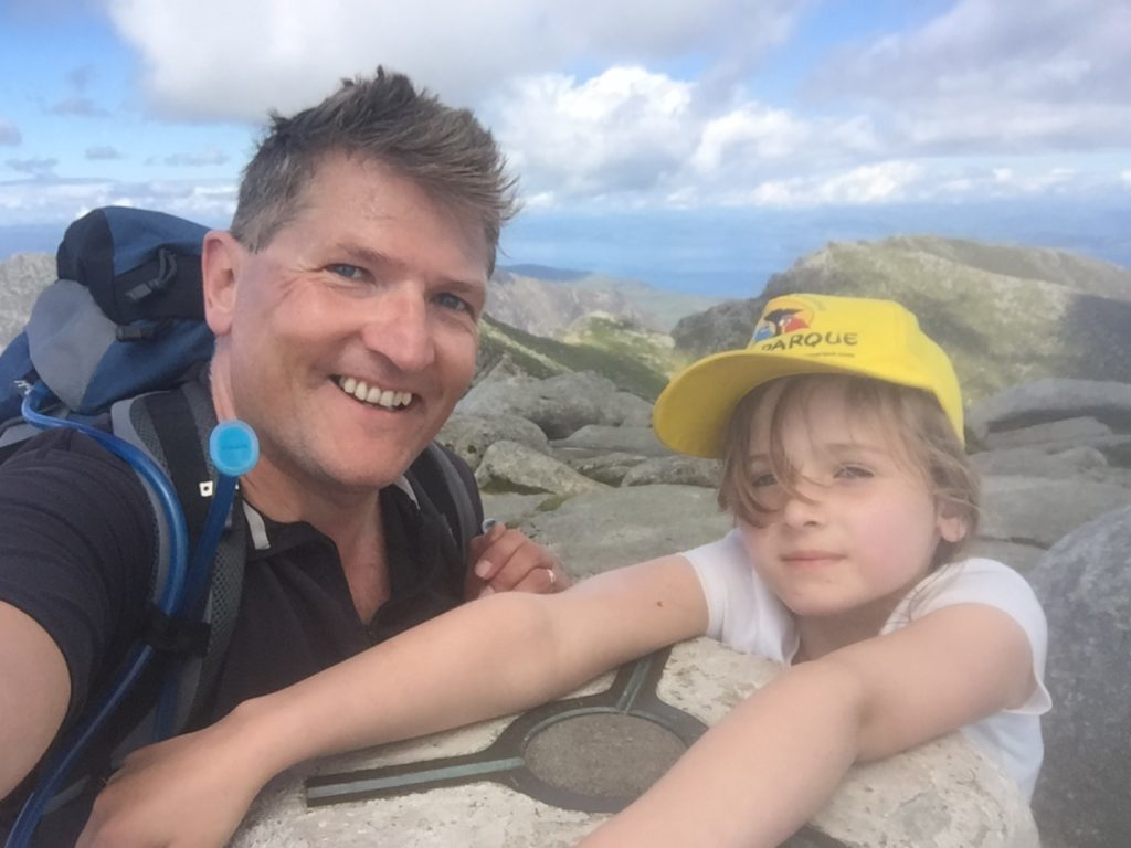 Robin on top of Goatfell on Arran with his daughter Tara.