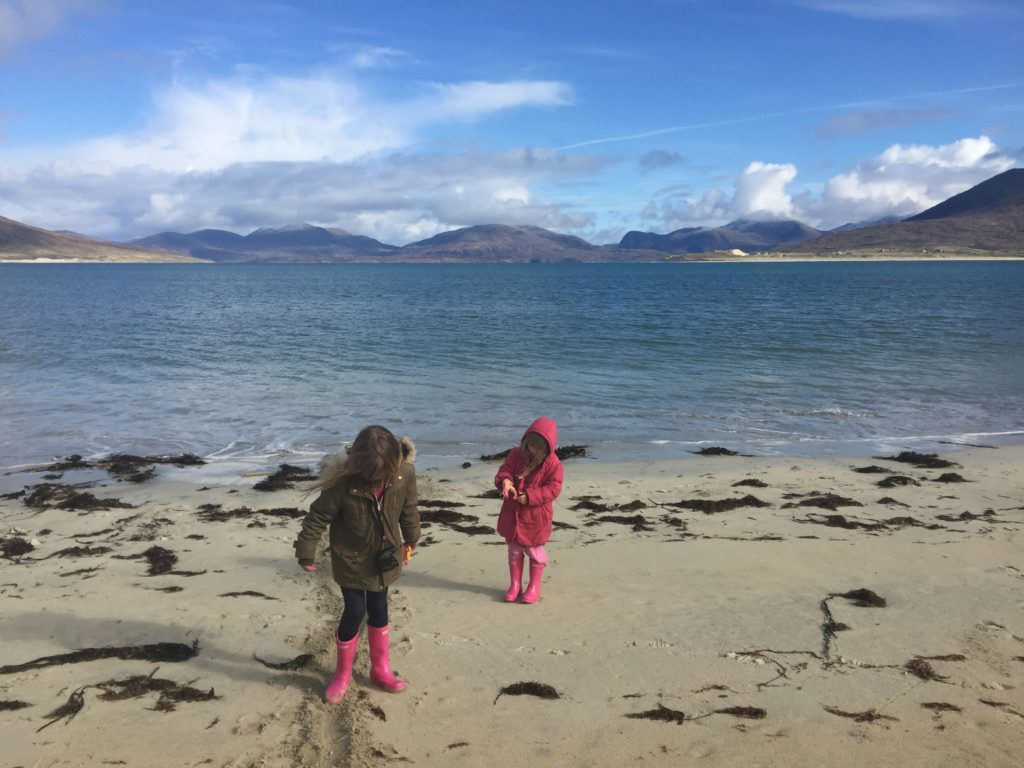 Robin's daughters enjoying one of the many beaches on Harris.
