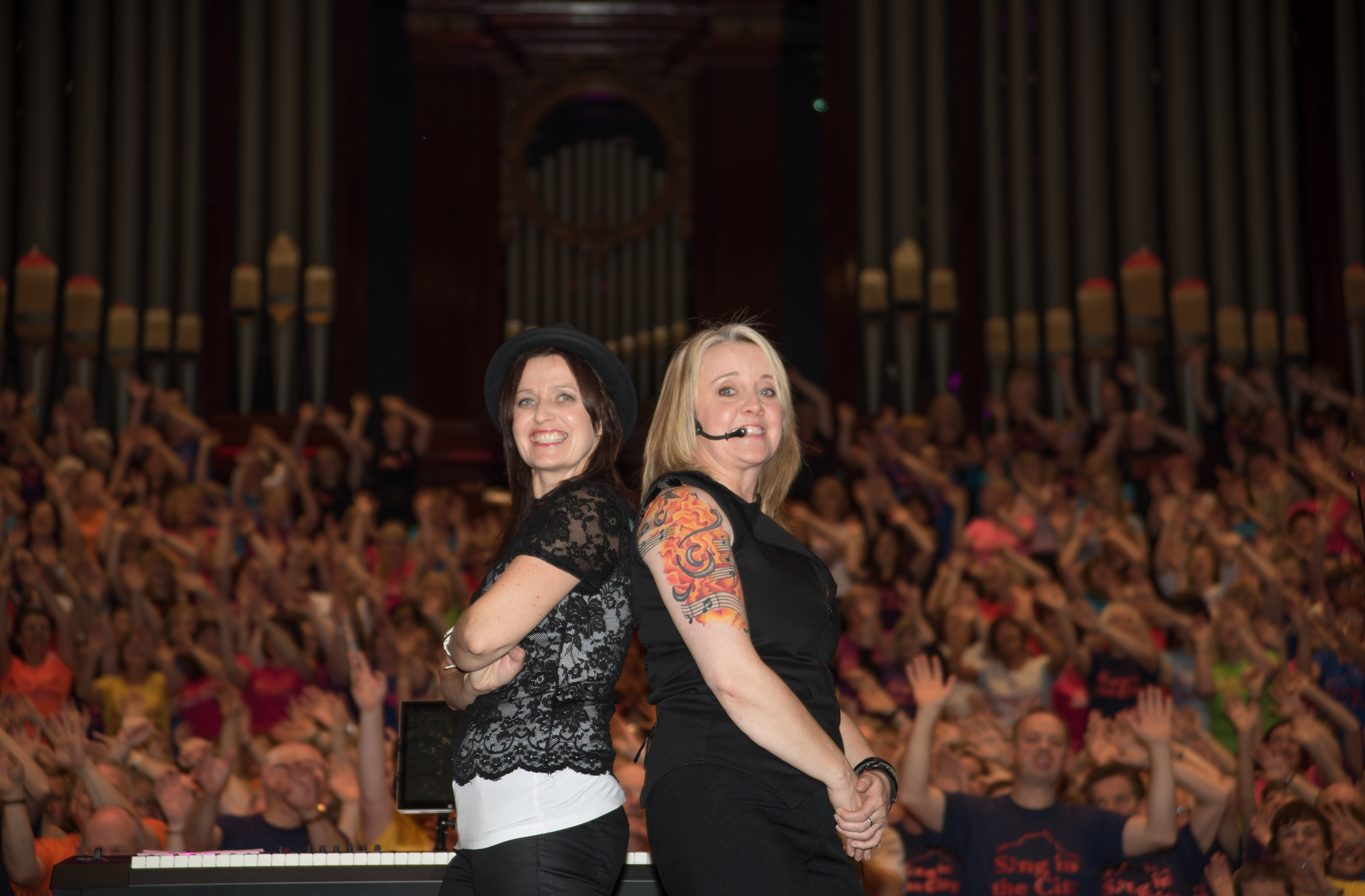 Sing in the City managing directors Kirsty Baird and Annette Hanley.